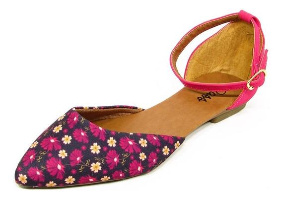 Sapatilha Feminina Salomé Pink Com Detalhe Floral
