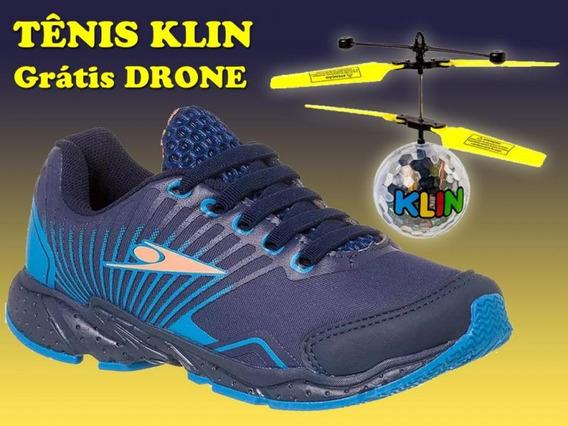 Tenis Drone Mania Klin Azul - Grátis Brinquedo Drone Led