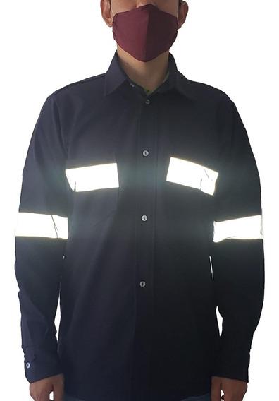 Camisa Con Reflejante. Gabardina 100% Algodon