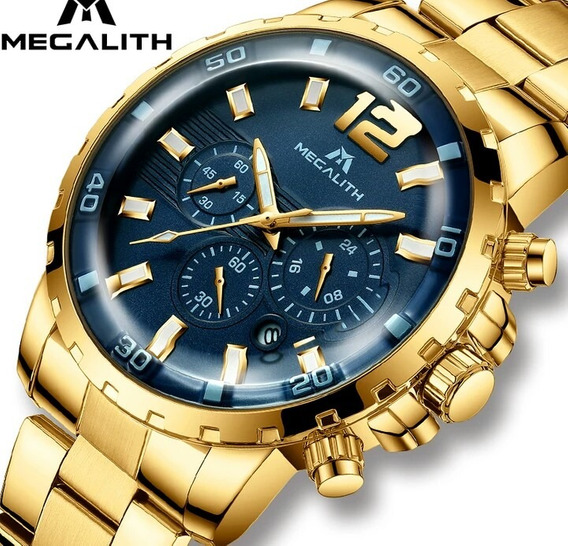 Relógio Megalith Original Dourado E Azul Funcional .