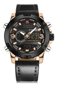 Relógio Masculino Militar Naviforce Dourado Pulseira Couro