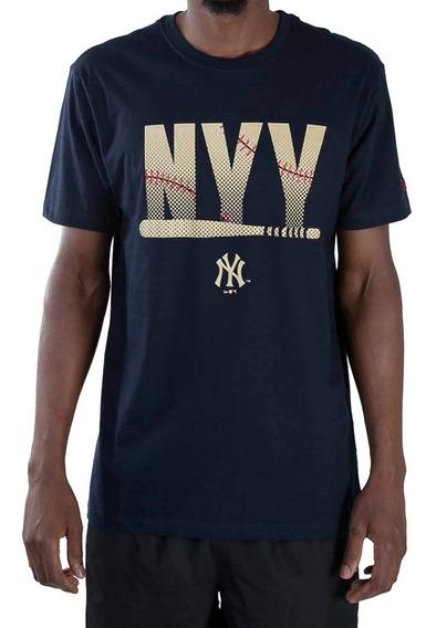 Camiseta New Era Nyy Beisebol Marinho Original