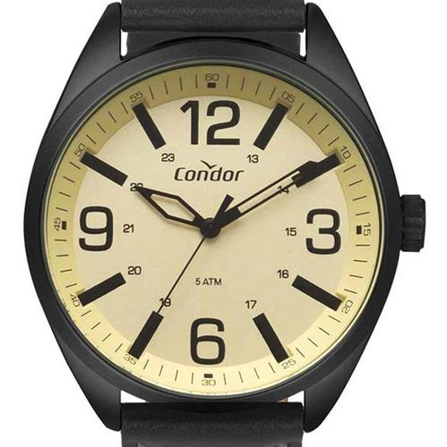 Relógio Condor Pulseira De Couro Masculino Pret Co2035mpe/2d