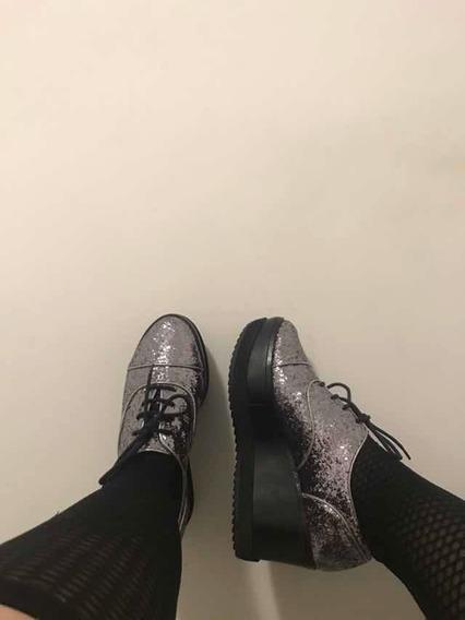 Sapato Oxford Glitter Grafite Schutz