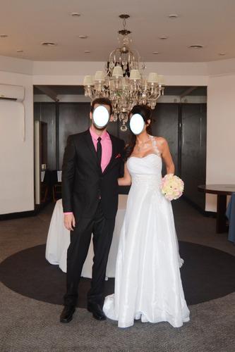 Vestido Casamiento Tafetam Bordado Y Raso