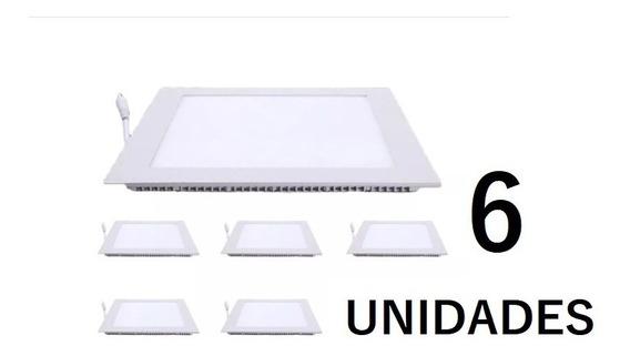 Kit 6 Plafon Led 25w Quadrado Embutir Painel Branco Frio