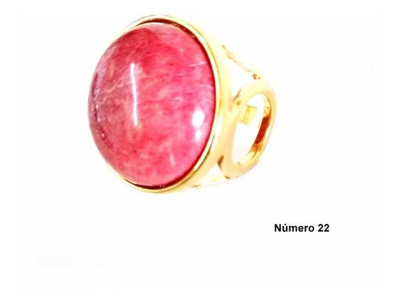 Semi Jóia Anel Dourado Com Pedra Natural N°22 Cor Rose