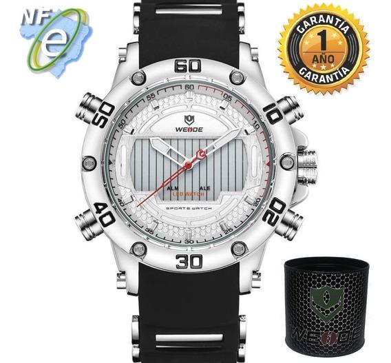 Relógios Masculinos Esportivo Grande Original Preto Prata
