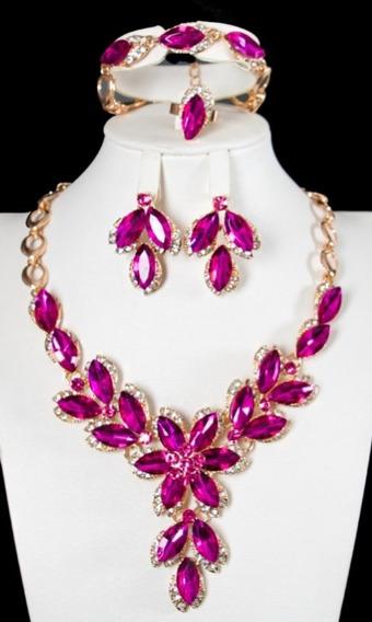Luxo Conjunto Colar Brinco Pulseira Anel Dourado Rosa Strass