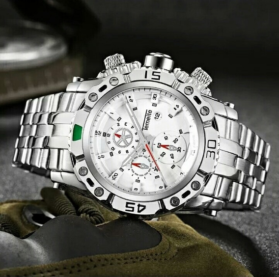 Relógio Masculino Aço Inoxidável A Prova D Água Temeite