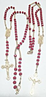 Rosario Católico 2 En Chapa De Oro Y Cristales Muy Finos