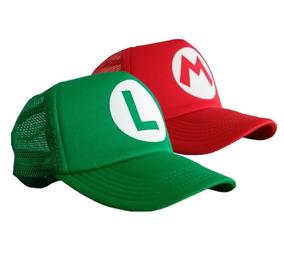 2 Gorras Verde Luigi Roja De Mario Bros Infantil O Adulto