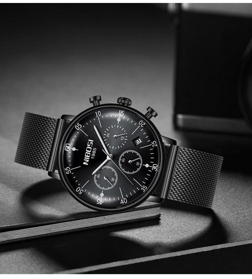 Relógios Nibosi Masculino Militar Safira Luxo Original