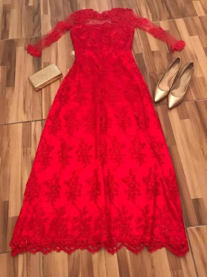 Vestido Para Casamento E Formatura Na Cor Vermelha.