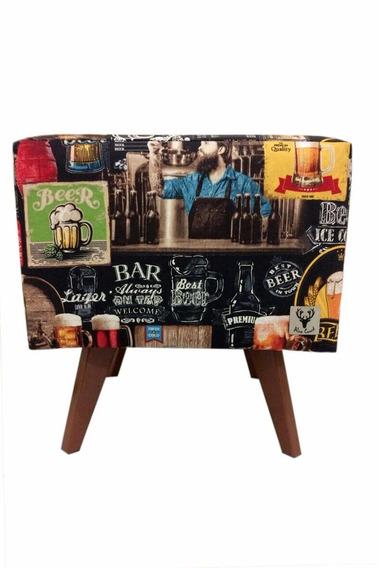 Puff Pé Palito Quadrado Alce Couch Bali Beer Cerveja 40cm