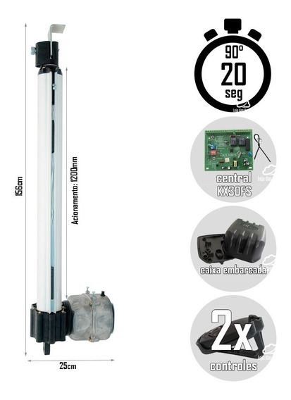 Motor Pivotante Simples Rossi 1/4 Portão 4m - 1200mm Pp-pl3