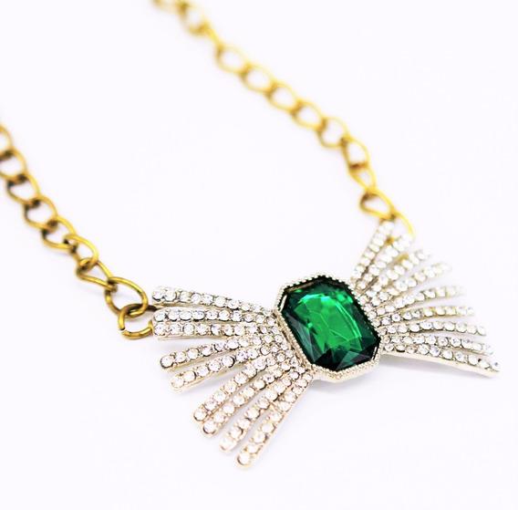 Colar Laço Pedra Verde Esmeralda Cristal Strass Luxo Festa