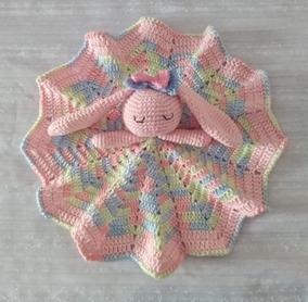 Manta De Apego Naninha Crochê Croche Colorida Com Bichinho