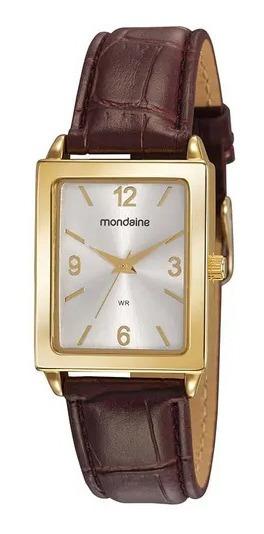 Relógio Feminino Quadrado Dourado Pulseira Couro Marrom + Nf