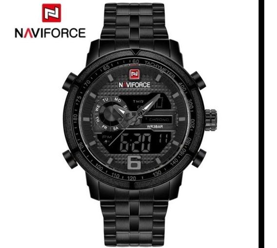 Relógio Naviforce Masculino Pulseira De Aço Preto