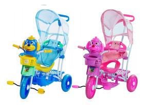 Triciclo 3 Rodas C/ Capota 3x1 Empurrar + Balancinho + Pedal