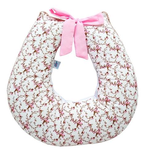 Imagem 1 de 2 de Almofada Amamentação Bebê Menina Floral Palha Rosa