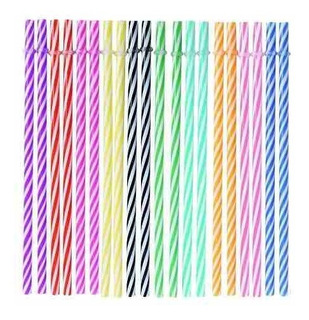 Set 10 Bombilla Color Pajita Popete Ecológicas Reutilizable