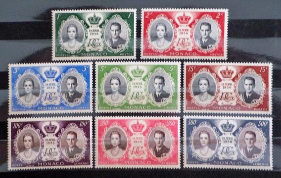 Mónaco, Serie Yv. 473-7 + A63-5 Boda Real 56 Mint L10479