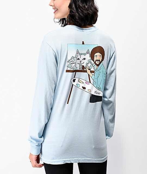 Playera Ripndip X Bob Ross Tee Manga Larga Original