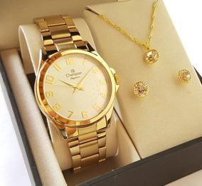 Relógio Champion Feminino Dourado Cn26377w Kit Colar Brincos