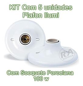 Kit 5 Plafon Pvc Branco C/ Soquete De Porcelana Ilumi