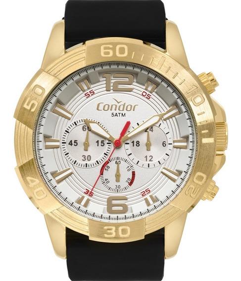 Relógio Condor Civic Dourado Pulseira Silicone Garantia Nf