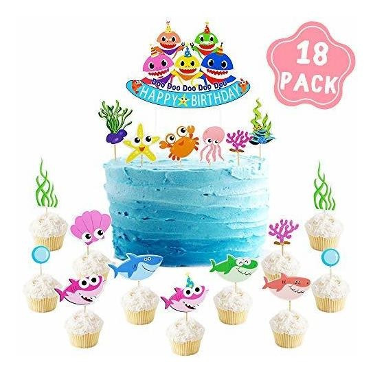 Shark Baby Party Supplies Cake Topper Birthday Decorations