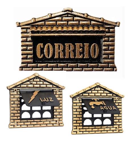 Caixa De Carta Com Leitor De Água E Luz Dourado Embutir Muro