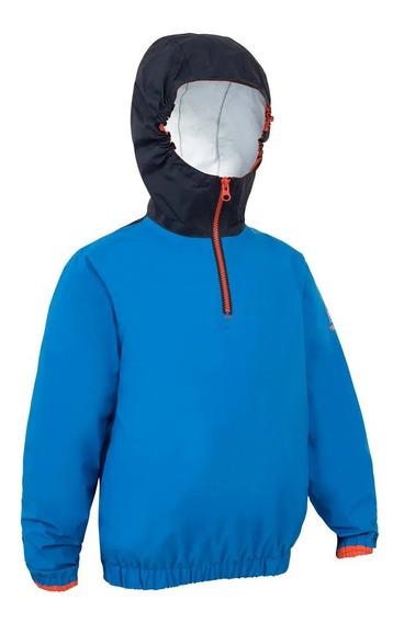Jaqueta Infantil Impermeável Azul Proteção Chuva E Vento
