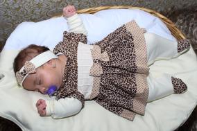 Kit Saída De Maternidade Onça - Macacão/manta Dupla Frete Gr