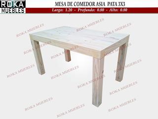 Mesa Asia Para Comedor 1.20x0.80 Pata 3x3 Pino Roka