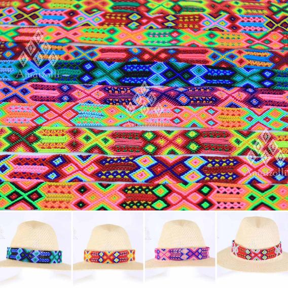 6 Tiras Artesanales Tejidas A Mano Para Sombrero 3 Cm Ancho