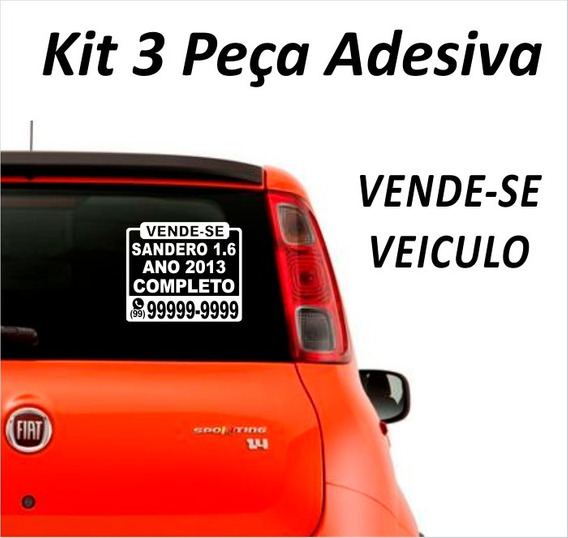 Adesivo Vende-se, Vendo Veículo Carro 3 Peças Placa Adesiva