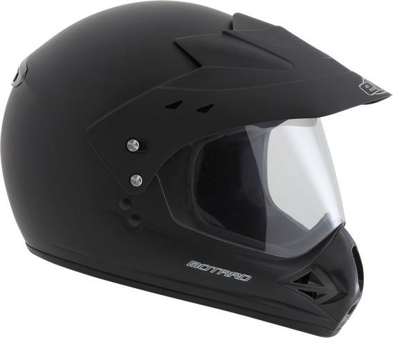Capacete Motocross Fechado Com Viseira Ebf Motard Solid Pret