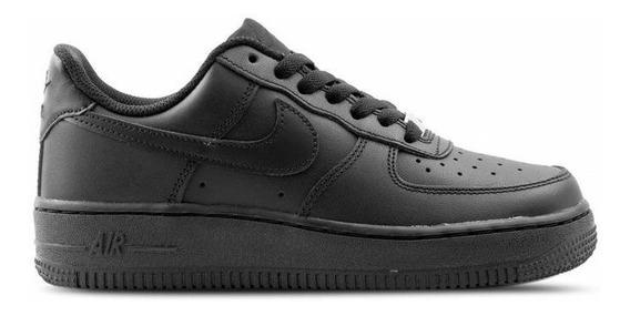 Tênis Nike Air Force 1 Couro Preto Feminino Original