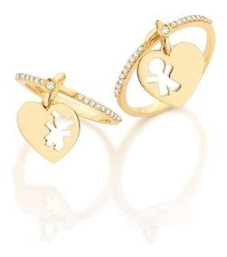 Anel Pingente Menino E Menina Em Ouro 18 Quilate E Diamante