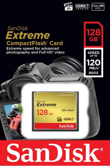 Cartão Memória Compact Flash Sandisk Extreme 128gb 120mb/s