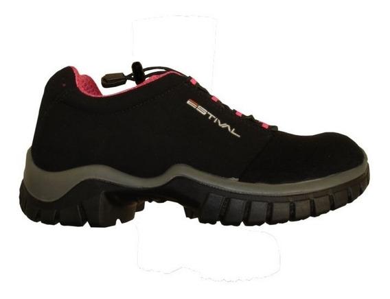 Sapato Ocupacional En1002 1s2 Microfibra Preto/rosa Estival