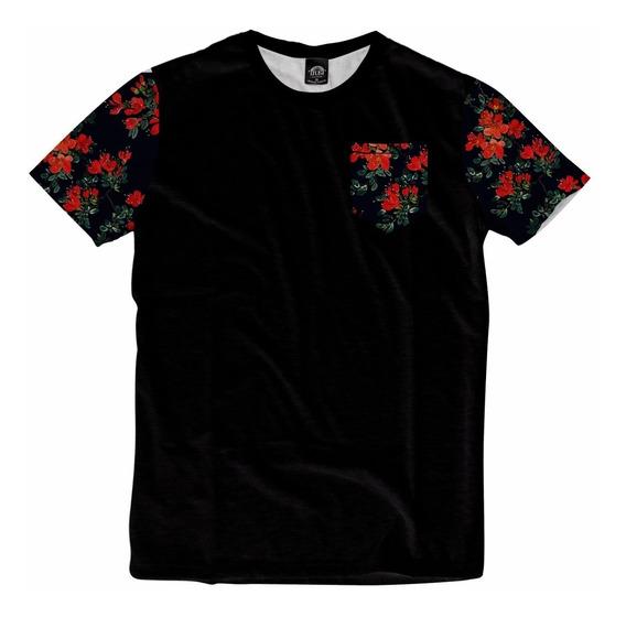 Camiseta Bolso Swag Mangas Havaiana Floral Personalizada