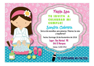 Invitaciones Para Mini Spa Recuerdos Cotillón Y Fiestas