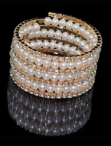 Maxxi Pulseira Bracelete Dourada Perolas Strass 7 Voltas