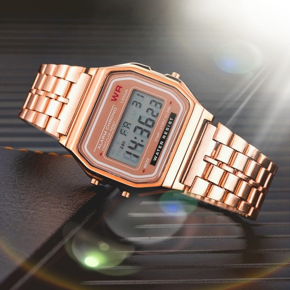 Relógio Feminino Vintage Retro Rose Digital Barato