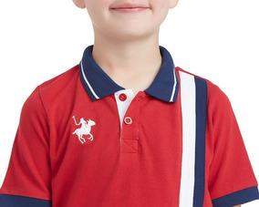 Playera York Polo Club Roja Lineas Verticales Niño