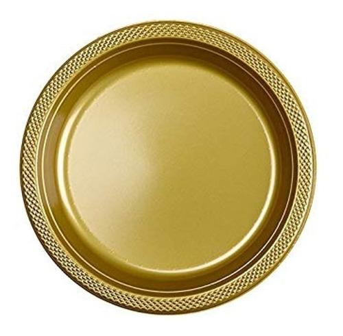 Imagen 1 de 2 de 60 Platos Grande 9 In Alimento Oro Dorado Fiesta Desechables
